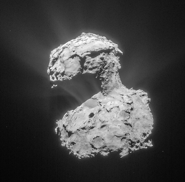 Comet 67P/Churyumov-Gerasimenko as seen from 86 kilometers by European Space Agency Rosetta mission in March 2015.  Image courtesy of ESA/Rosetta/NAVCAM.