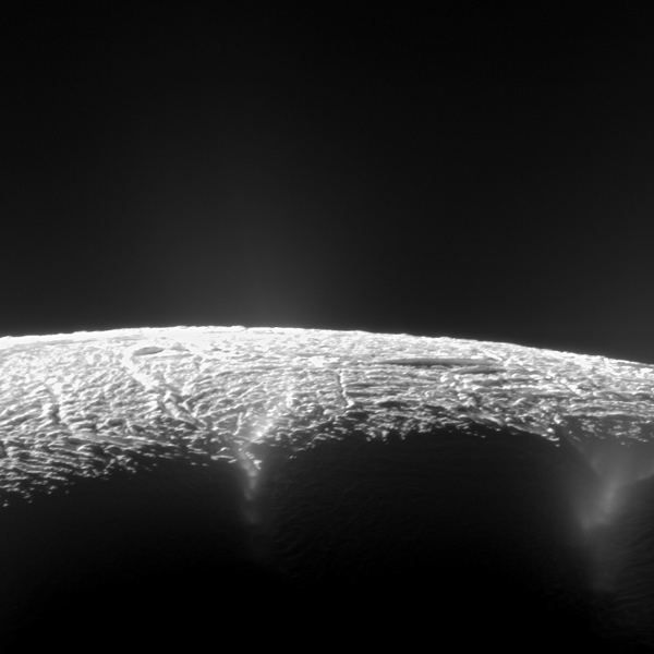 Geyser basin on Enceladus as seen from Cassini.  Image courtesy of NASA/JPL-Caltech/Space Science Institute.