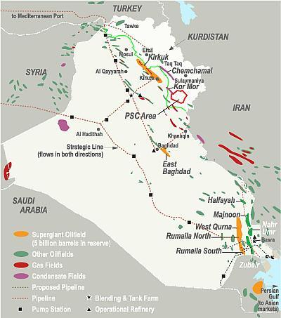 Iraq's major oil fields. Source: Energy-pedia.